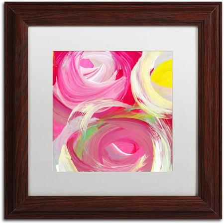Trademark Fine Art 'Rose Garden Circles Square 4' Canvas Art by Amy Vangsgard, White Matte, Wood Frame 4' Square Dark Wood