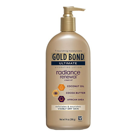 Gold Bond Ultimate Radiance Renewal Coconut Oil, Cocoa Butter and African Shea Hydrating Lotion, 14