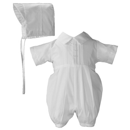 Boys Poly Cotton Christening Baptism Romper with Pin Tucking and Hat - Christening Hat