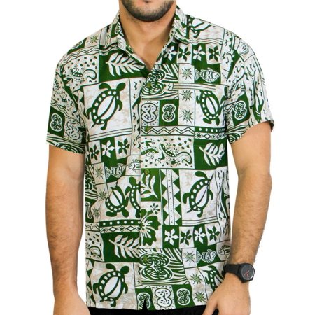 La Leela Mens Woven Hawaiian Beach Swim Casual Button Down Gifts Front Pocket Short Sleeve Camp Shirts Collared Soft Fabric Print White Green Cyber Monday Deal Thanksgiving