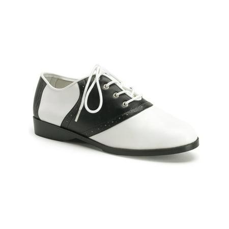 Cute Saddle Shoe Womens Flat Shoes Sexy Flats Black - 1950s Saddle Shoes