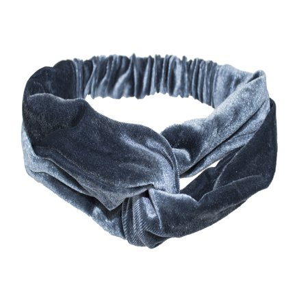 Velvet Turban - Stylish Womens Girls Woven Fabric Twisted Knot Headband Head Wrap Elastic Turban (2 Pack, Velvet Light Blue)