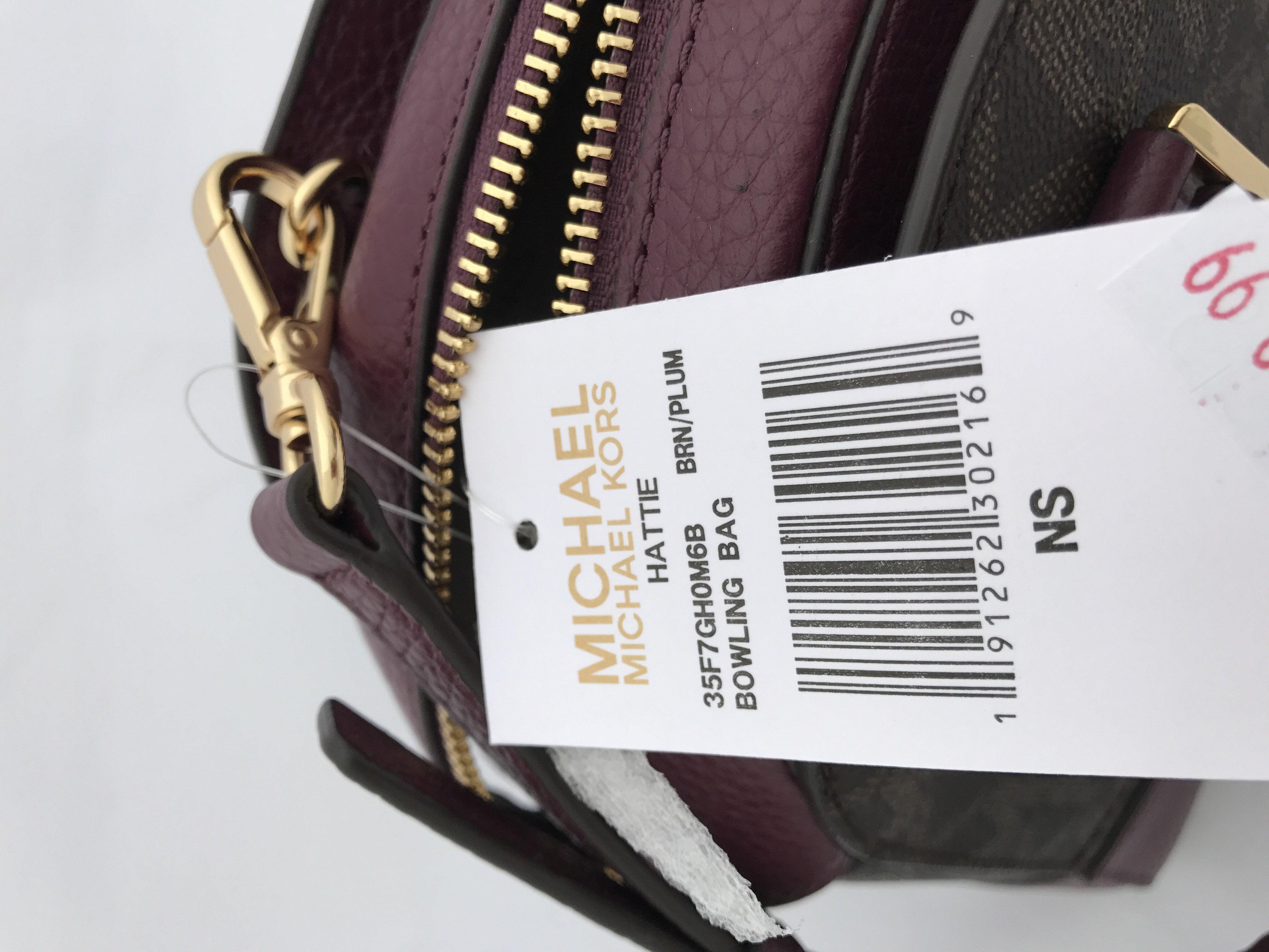 08b946b9e474fb Michael Kors - Michael Kors Hattie MK Signature Bowling Satchel Bag Brown  Plum Crossbody - Walmart.com