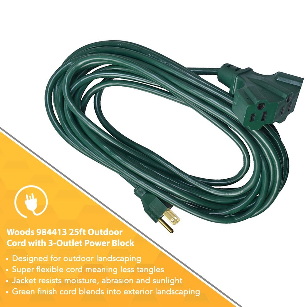 Marvelous Woods 16 3 Sjtw Outdoor Power Block Extension Cord Green 25 Foot Wiring Digital Resources Biosshebarightsorg