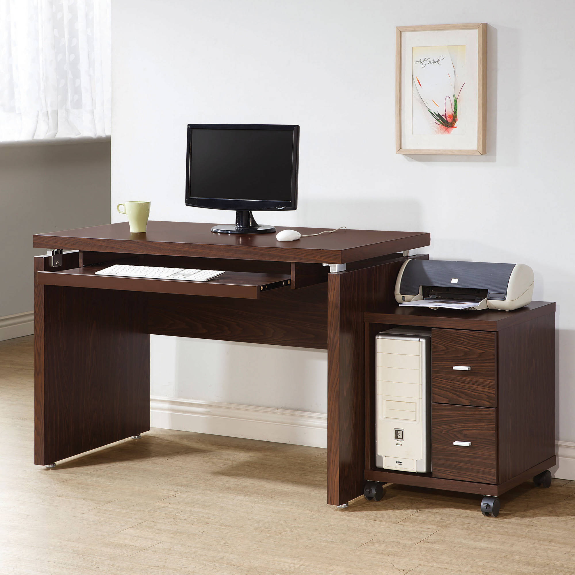 Coaster Clark 2-Drawer CPU Stand in Brown Finish