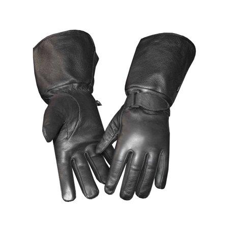 Redline Men's Gauntlet Fleece Gator Lining Leather Gloves, Black G-053GS - Gauntlet Gloves