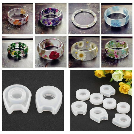 Hilitand DIY Ring Mold,8 Sizes Silicone Casting Mould Resin Jewelry Mold Making Silicone Jewelry Mould for DIY Craft Making - Paperweight Casting Mold