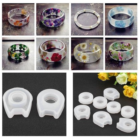 Hilitand DIY Ring Mold,8 Sizes Silicone Casting Mould Resin Jewelry Mold Making Silicone Jewelry Mould for DIY Craft Making
