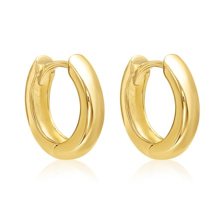 14k Yellow Gold Small Wide Hinged Hoop Earrings With Hidden Post 13mm