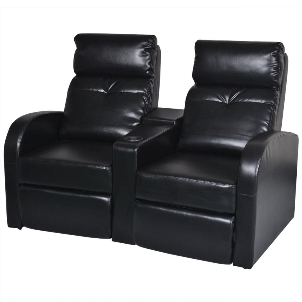 vidaXL Artificial Leather Home Cinema Recliner Reclining Sofa 2-seat Black