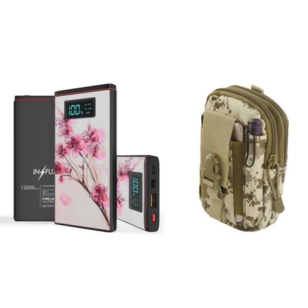 INFUZE Slim Pocket 12000mAh Portable Charger Dual (USB-A, USB-C) 18W QC 3.0 Power Bank (Cherry Blossom), Tactical Organizer Pouch (Desert Pixel Camo) for LG G8 ThinQ, LG V50, LG Stylo 4+ Plus ()
