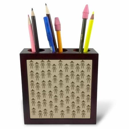 Monkey Pen Holder (3dRose Brown Sock Monkeys cute animals art, Tile Pen Holder, 5-inch )