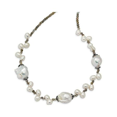 925 Sterling Silver Labradorite & FW Cultured Pearl w/2in Ext. Fancy