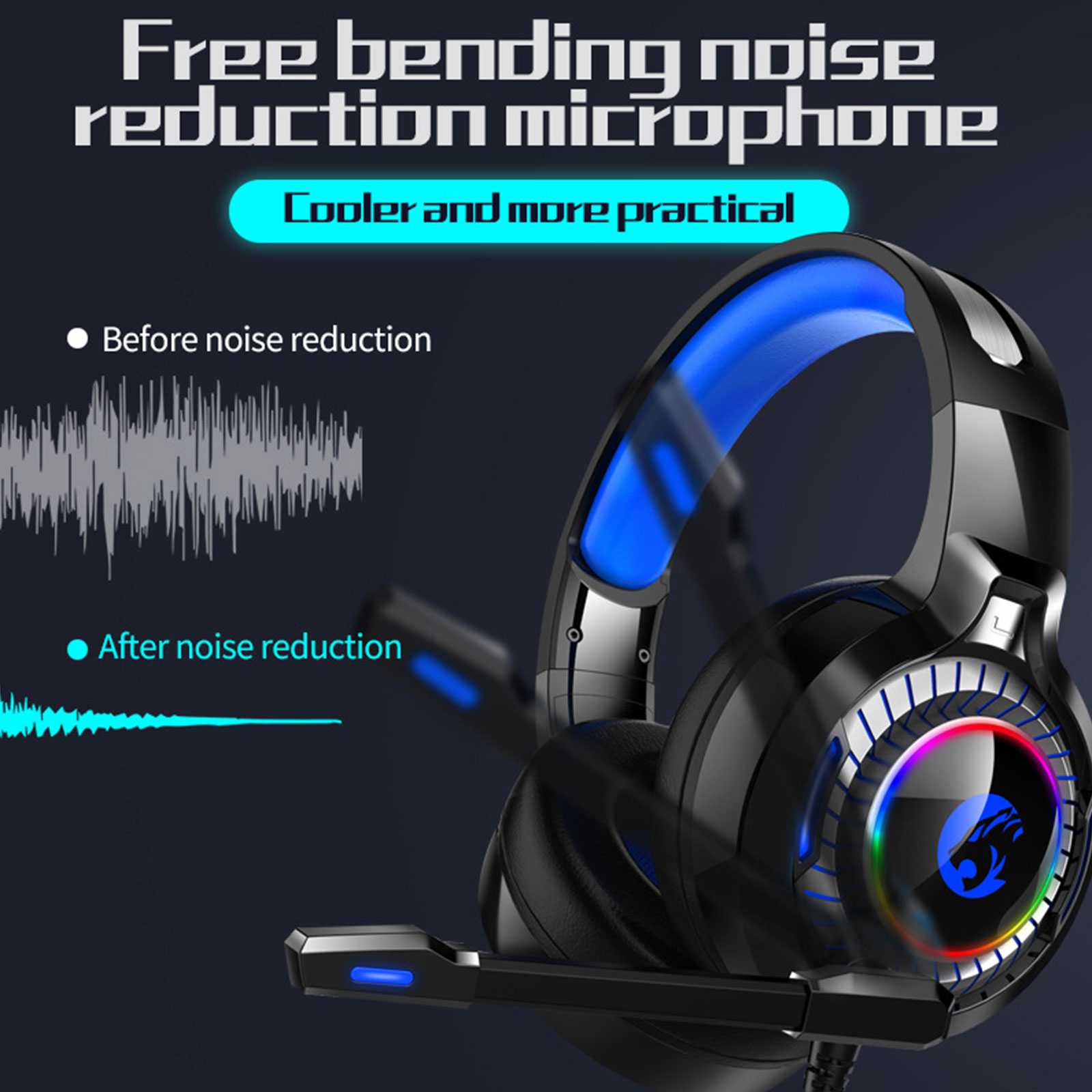 GSUMMER Computer Desktop Headset,Single Hole Notebook with Wheat Wire Control PS4 Headphones Black Noise Reduction Headphones for Music//Daily Leisure//Gaming Headset