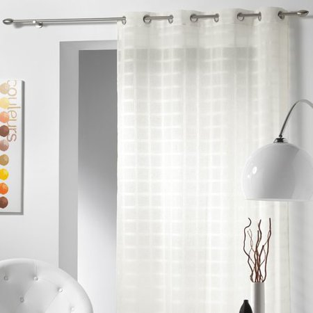 - Evideco Sanded Voile Candide Plaid & Check Sheer Grommet Single Curtain Panel