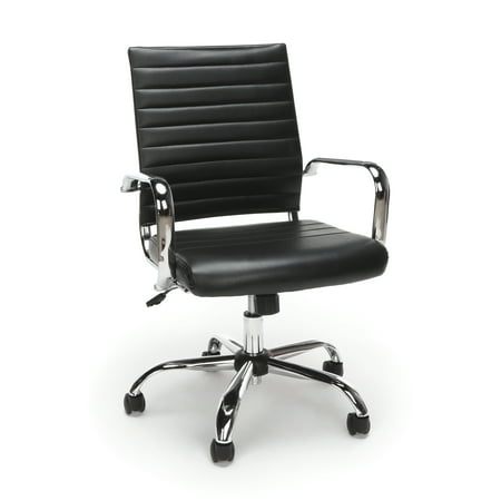 Essentials by OFM ESS-6095 Soft Ribbed Leather Executive Conference Room Chair, Black Eco Leather Conference Chair