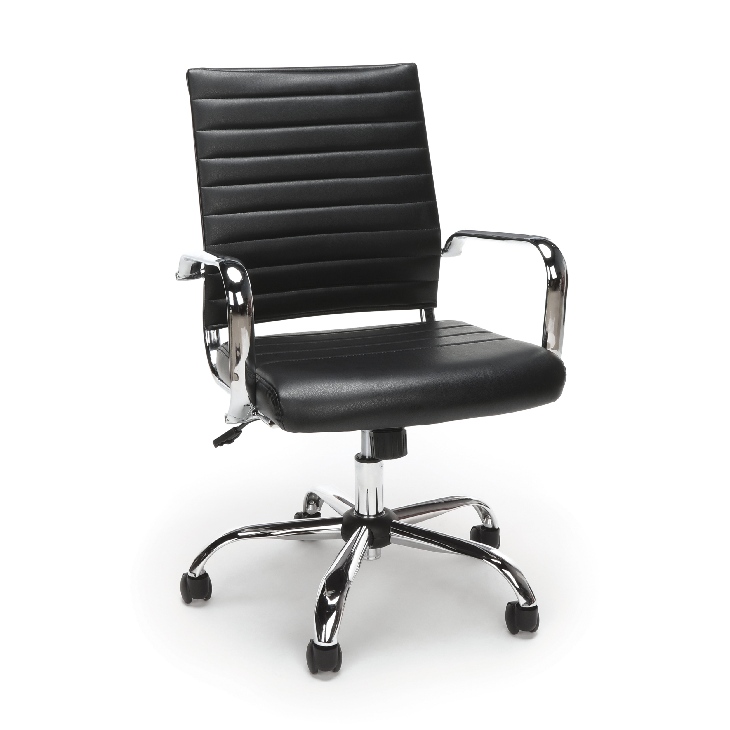 Essentials by OFM ESS-6095 Soft Ribbed Leather Executive Conference Room Chair, Black