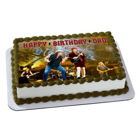 ACDC Quarter Sheet Edible Photo Birthday Cake Topper Personalized 1 4 Sheetnbsp
