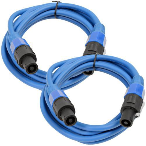 Seismic Audio  Pair of 12 Gauge 10' Blue Speakon to Speakon Speaker Cables 10' Blue - TW12S10Blue-Pair