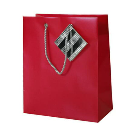 JAM Opaque Shopping Bags - Small - 7 1/2 x 9 x 4 - Red -1...