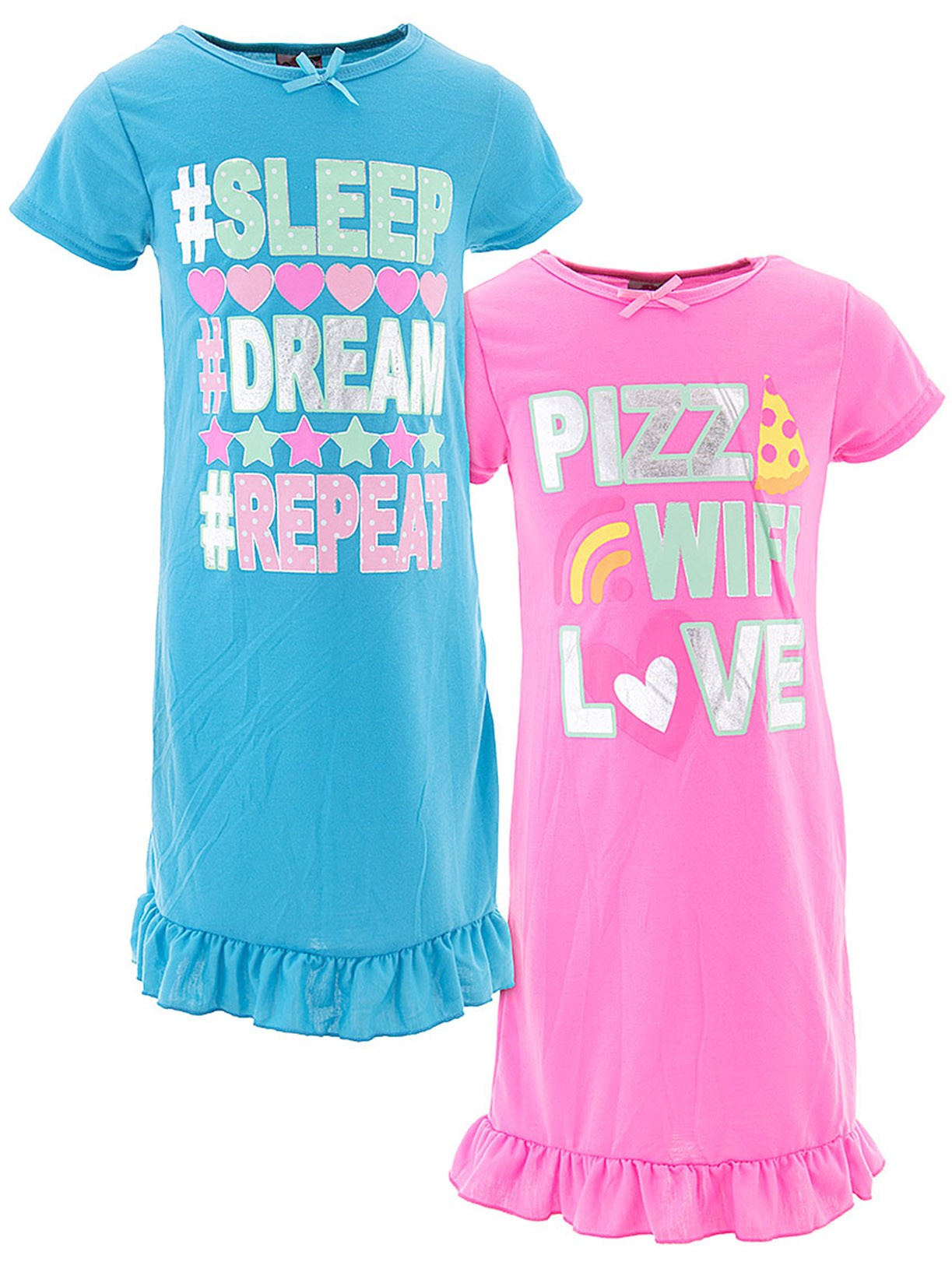 Sweet N Sassy Girls Pizza Wi-Fi Love Pink Blue 2-Pack Nightgown