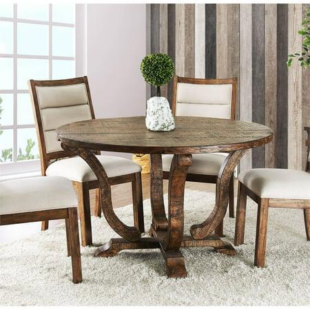 Furniture of America Meka Rustic Round Dining Table in Antique Oak ()