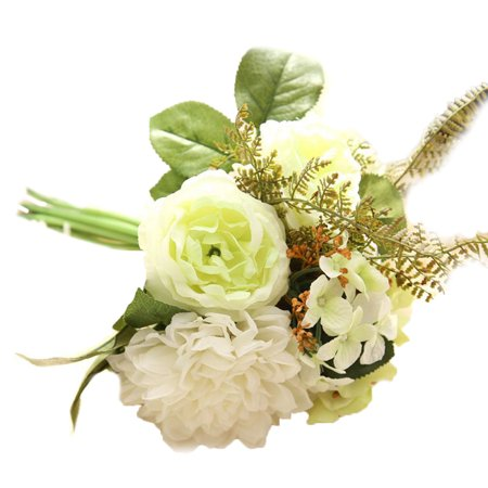 Joyfeel Clearance Artificial Hydrangea Rose Dahlia Flower Bouquet for Home Party Wedding Decoration ()