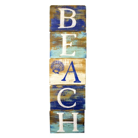 Beach Slatted Wood Wall Plaque 23.5 Inch Painted Distressed