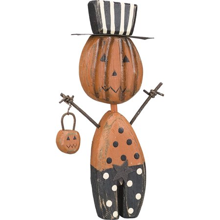 Primitive Halloween Decorations (PBK Halloween Decor - Wood Prim Chunky Jack Pumpkin Sitter #21160, Halloween Decor By Primitives by)