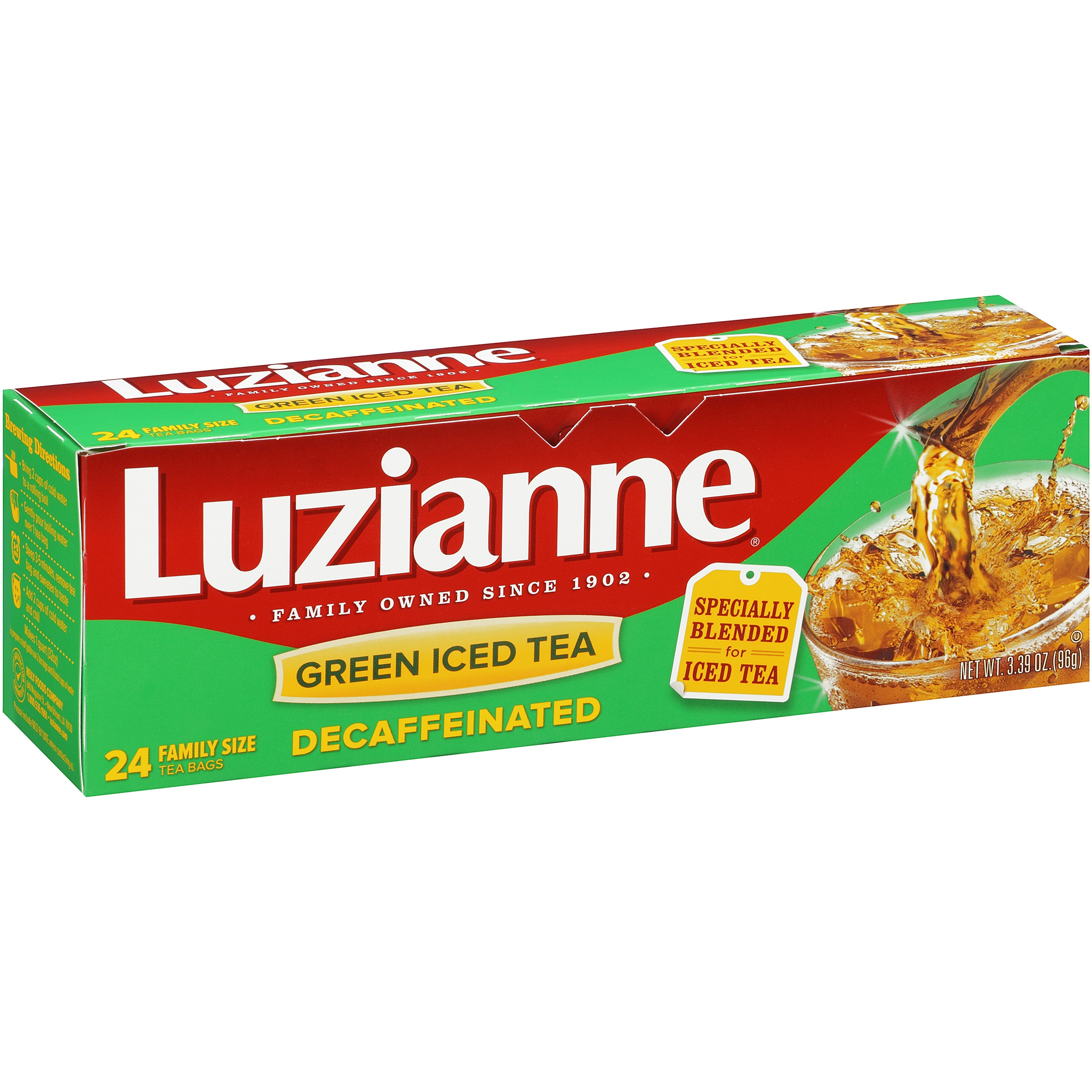 (6 Boxes) Luzianne® Decaffeinated Green Iced Tea 24 ct. Bag.