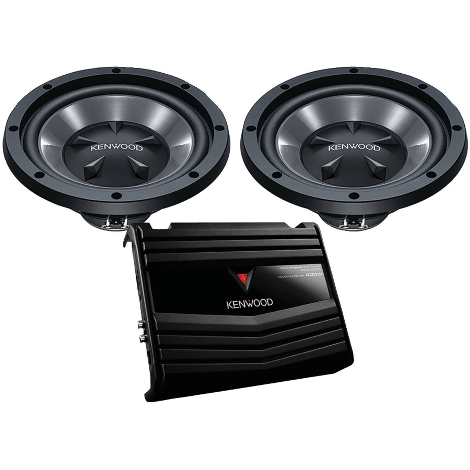 """Kenwood P-W1020 10"""" Bass Party Pack, 350 Watts (KAC-5206 Amp and 2 KFC-W110S Subwoofers)"""