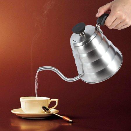 YLSHRF 1x 304 Stainless Steel Gooseneck Tea Pot Manual Coffee Drip Maker Infusion 1L Whistling Kettle, Stainless Tea Kettle, whistling tea Kettle Tea Pot Drip