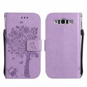 Galaxy S3 S III Case, Samsung Galaxy S3 Phone Cases, Allytech [Embossed Cat & Tree] PU Leather Wallet Case Folio Flip Kickstand Cover with Card Slots for Samsung Galaxy S3 III I9300, Lightpurple