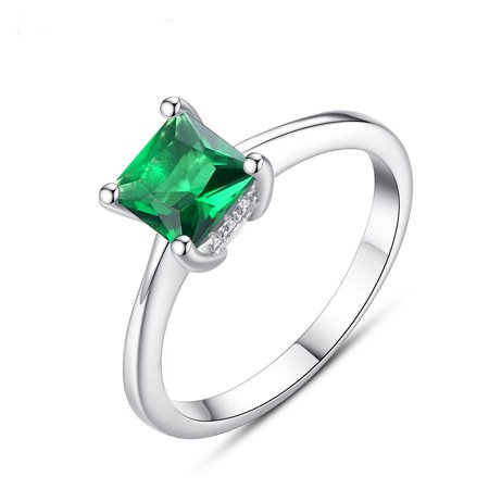 925 Sterling Silver Ring Emerald classic Ring Best Gift for women