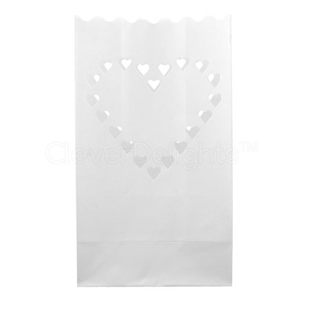 CleverDelights White Luminary Bags - 20 Count - Big Heart Design - Flame Resistant Paper - Wedding, Reception, Party and Event Decor - Luminaria Candle Bag](Luminaria Maui)