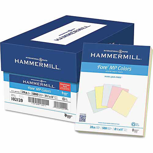 "Hammermill Recycled Colored Paper, 8.5"" x 11"", Assorted, 500 Sheets"