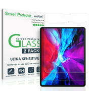 """amFilm iPad Pro 12.9 Inch (2020 / 2018) Screen Protector Glass, Case Friendly (Rounded Edge) Tempered Glass Screen Protector for Apple iPad Pro 12.9"""" (2 Pack)"""