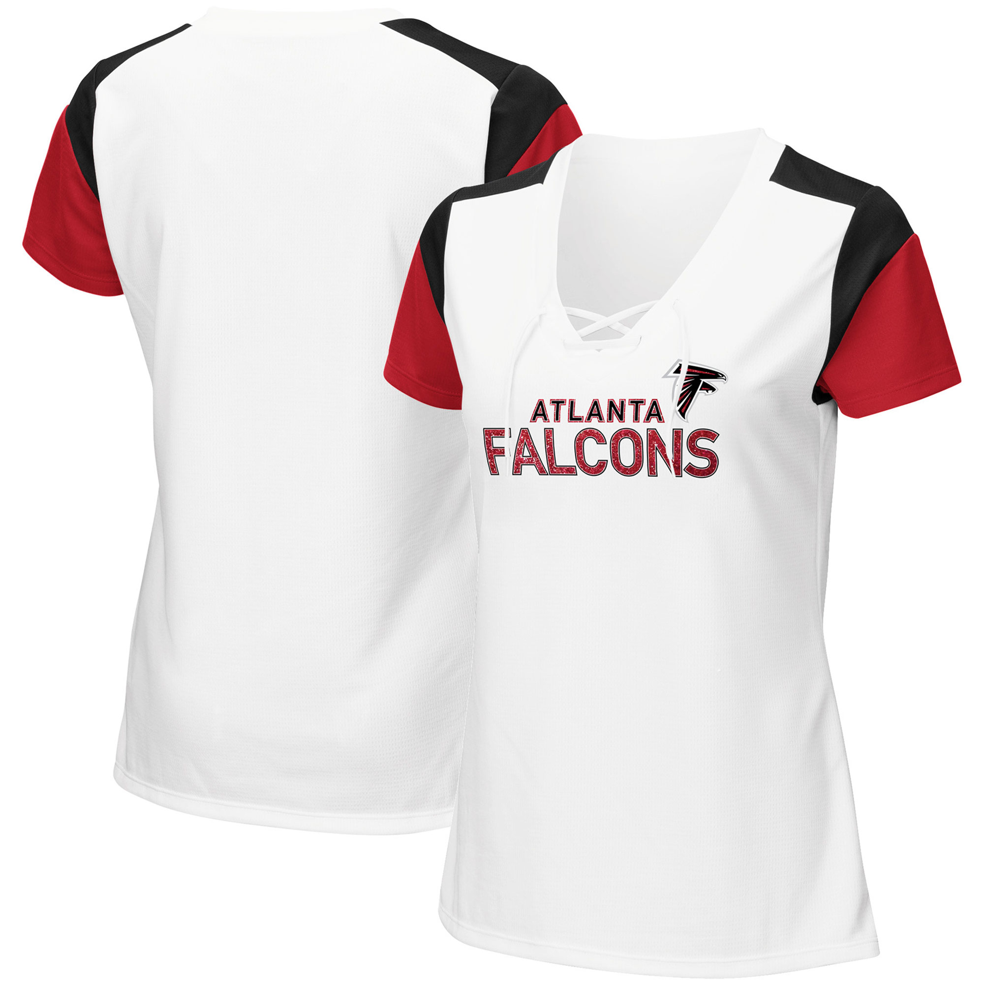 Women's Majestic White/Black Atlanta Falcons Shimmer Lace-Up V-Neck T-Shirt