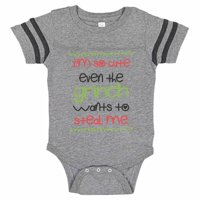 "Adorable Grinch Baseball Bodysuit Raglan ""I'm So Cute Even The Grinch Wants To Steal Me Cute Newborn Xmas Shirt Gift - Baby Tee, Newborn, Grey & Black Short Sleeve"