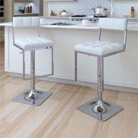 CorLiving Square Tufted Adjustable Barstool - Set of 2