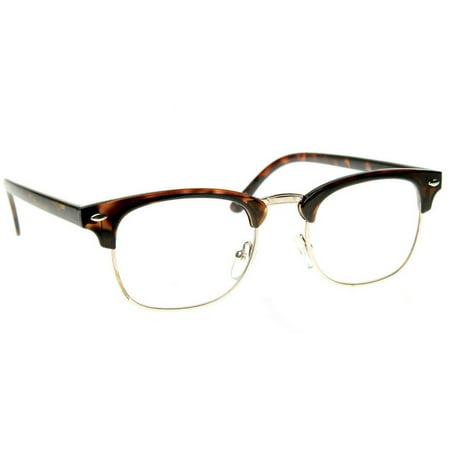 Emblem Eyewear - Classic Half Frame Vintage Inspired Clear Lens