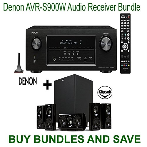 Denon AVR-S900W 7.2 Channel Full 4K Ultra HD A V Receiver with Bluetooth and Wi-Fi + Klipsch HDT-600 Home Theater System by Electronics Expo