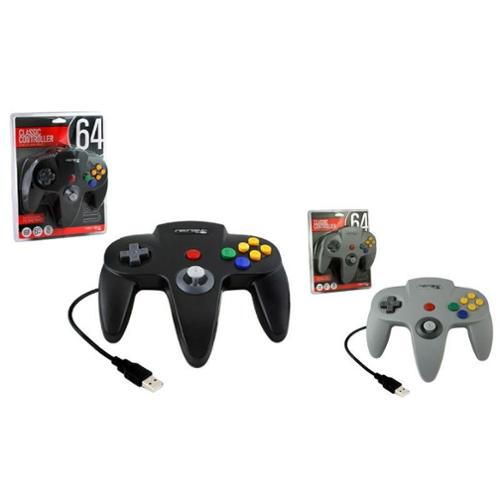 2-Pack Wired Nintendo 64 Style USB Controller For PC And Mac (Black+Grey)