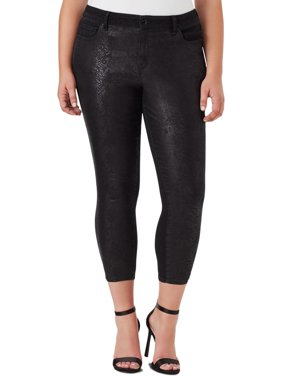 William Rast Womens Plus Denim Embossed Colored Skinny Jeans