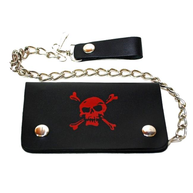 Leather In Chicago LICWB1-SK-02 Bifold Chain Wallet 6 x 3. 5 inch Pirate Skull Red