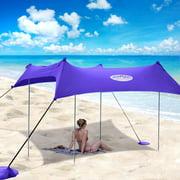 UMARDOO Family Beach Tent with 4 Aluminum Poles, Pop Up Beach Sunshade with Carrying Bag (Purple, 10X9 FT)