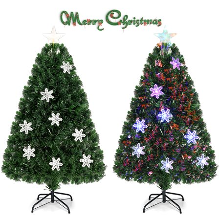 Gymax 4' Pre-Lit Multi-Color Lights Fiber Optic Artificial Christmas Tree with Snowflakes ()