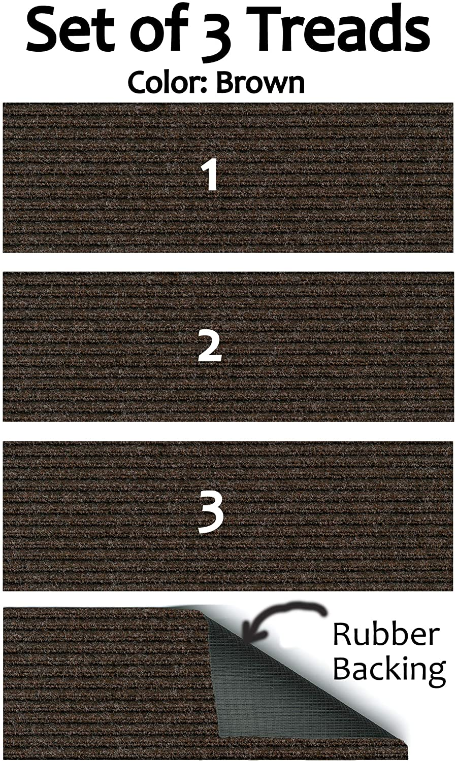 Set Of 3 Rubber Backed Non Slip 1 4 Thick Heavy Duty Indoor Outdoor Carpet Stair Treads Many Sizes Available Color Brown Walmart Com Walmart Com
