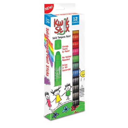 Brush Tempera Paint Tube - Kwik Stix Solid Tempera Paint Stick, 12 Primary Colors