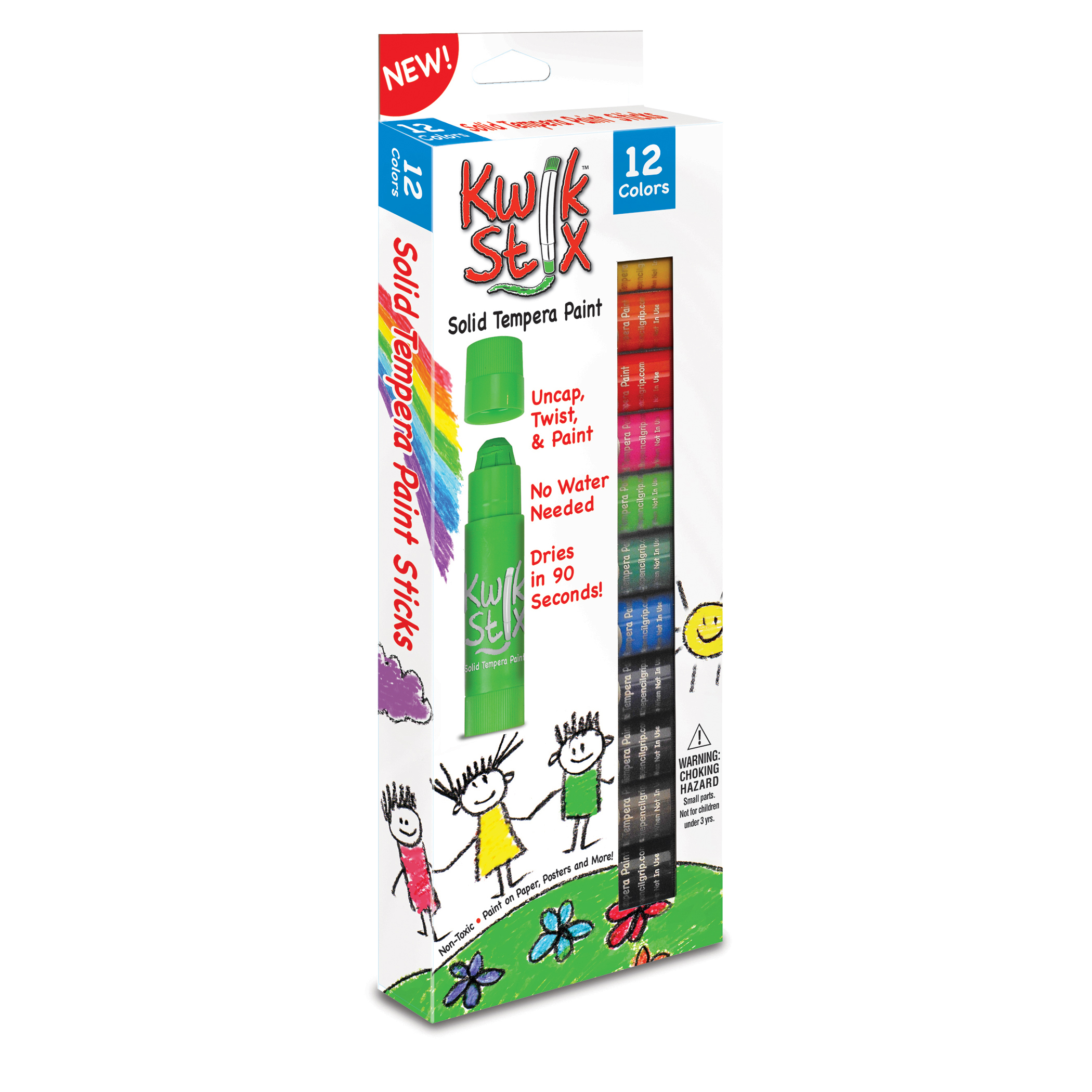 Kwik Stix Solid Tempera Paint Stick, 12 Primary Colors